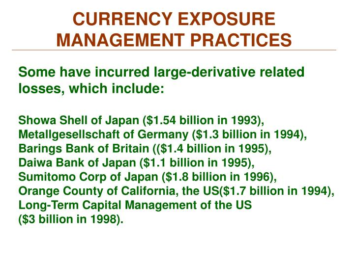 CURRENCY EXPOSURE MANAGEMENT PRACTICES