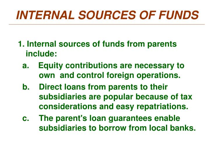 INTERNAL SOURCES OF FUNDS