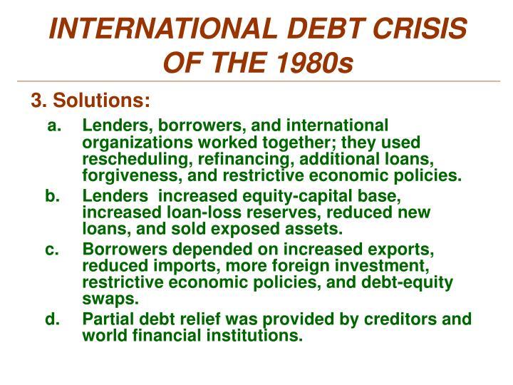 INTERNATIONAL DEBT CRISIS OF THE 1980s