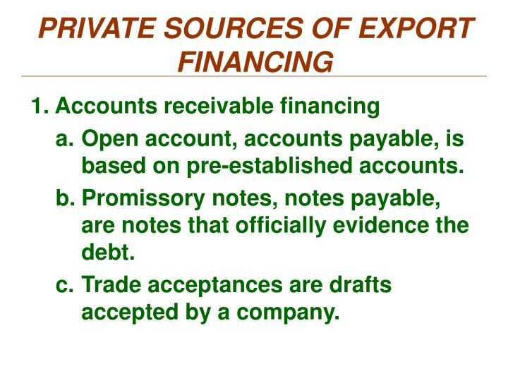 PRIVATE SOURCES OF EXPORT FINANCING
