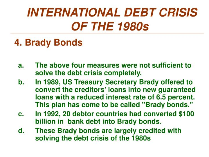 INTERNATIONAL DEBT CRISIS