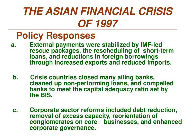 THE ASIAN FINANCIAL CRISIS OF 1997