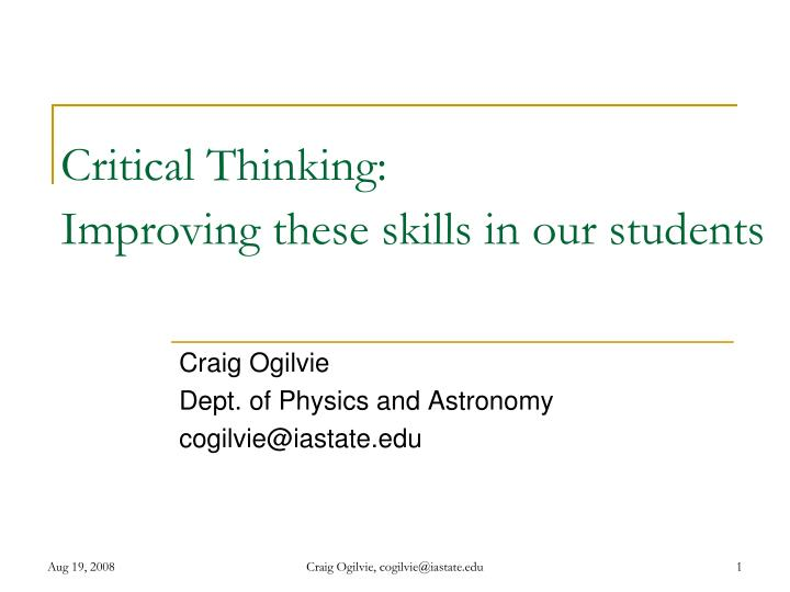 critical thinking improving these skills in our students n.