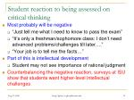 student reaction to being assessed on critical thinking