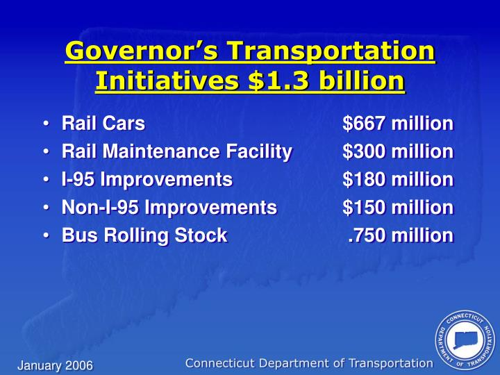 Governor's Transportation Initiatives $1.3 billion