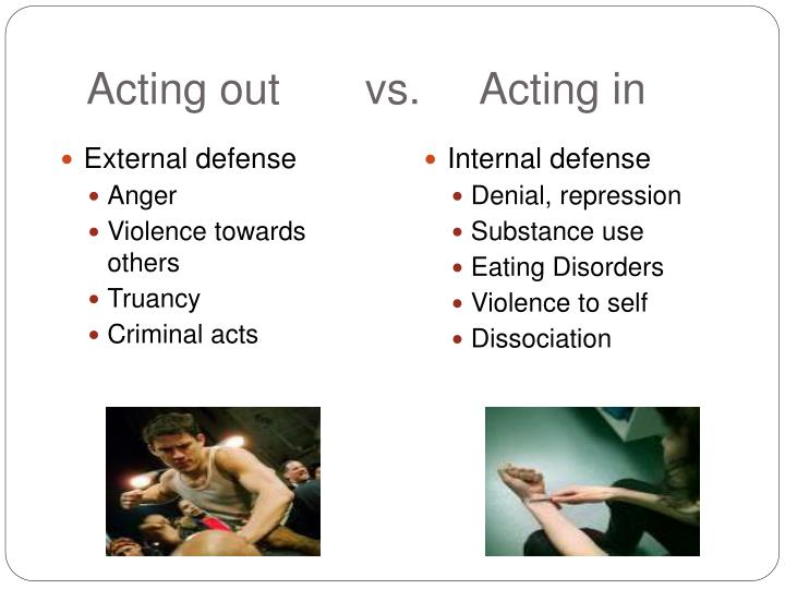 Acting out       vs.     Acting in
