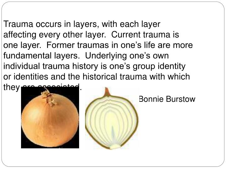 Trauma occurs in layers, with each layer affecting every other layer.  Current trauma is one layer.  Former traumas in one's life are more fundamental layers.  Underlying one's own individual trauma history is one's group identity or identities and the historical trauma with which they are associated.