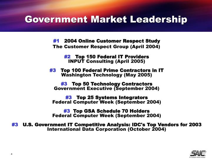 Government Market Leadership