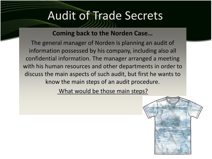 Audit of Trade Secrets