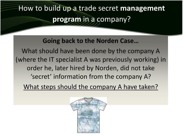 How to build up a trade secret