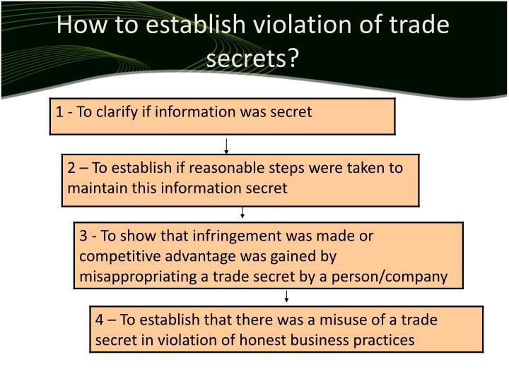 How to establish violation of trade secrets?