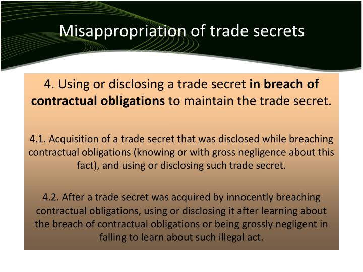 Misappropriation of trade secrets