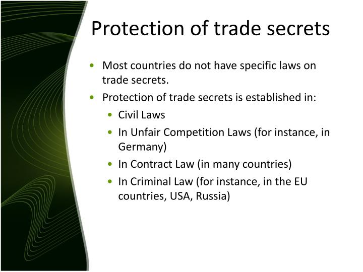 Protection of trade secrets