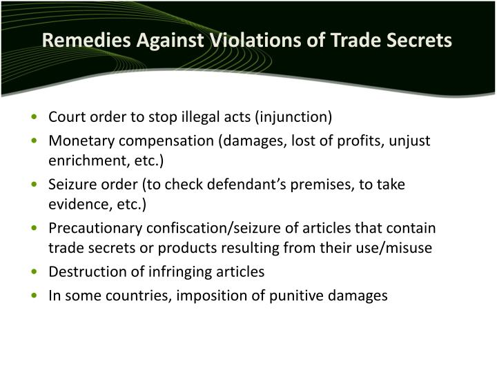 Remedies Against Violations of Trade Secrets