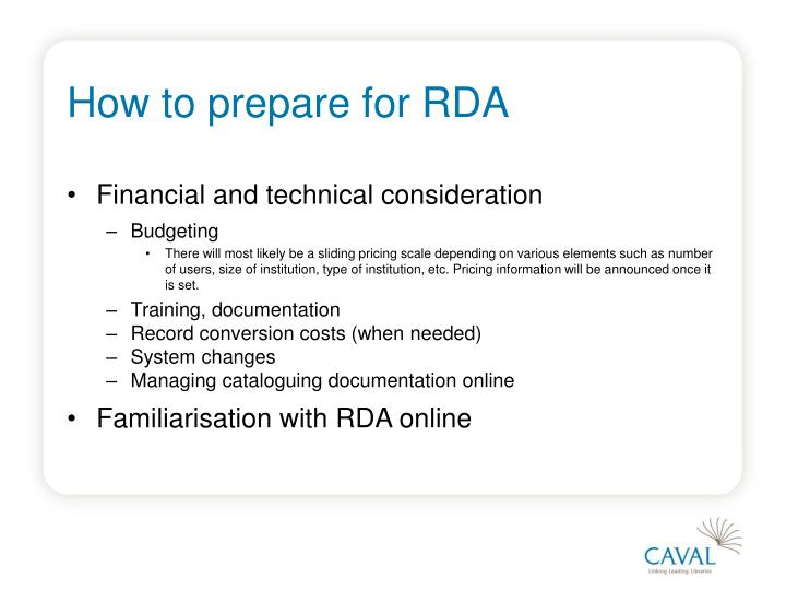 How to prepare for RDA