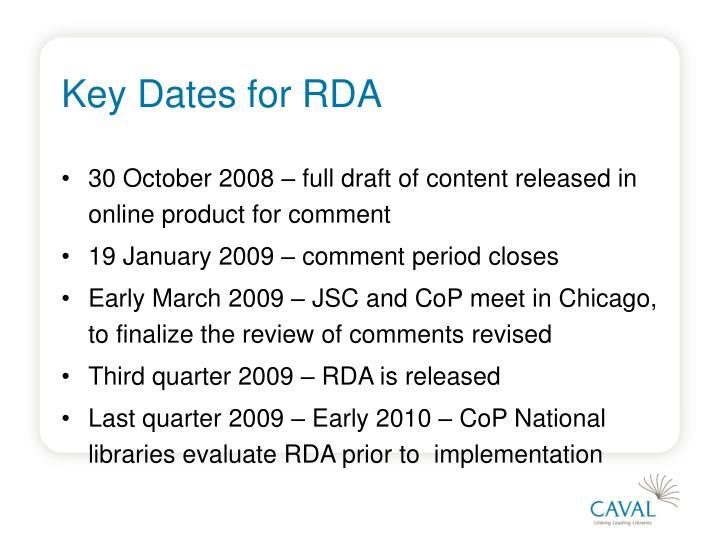 Key Dates for RDA