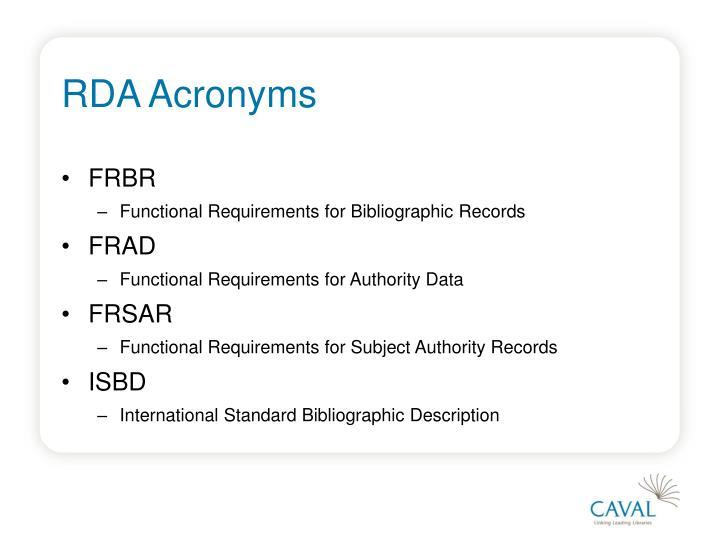 RDA Acronyms
