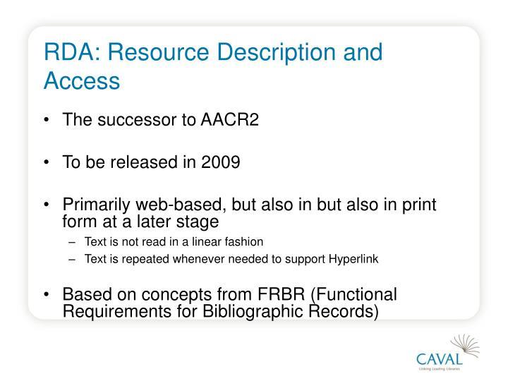 Rda resource description and access1