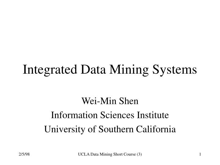 integrated data mining systems n.
