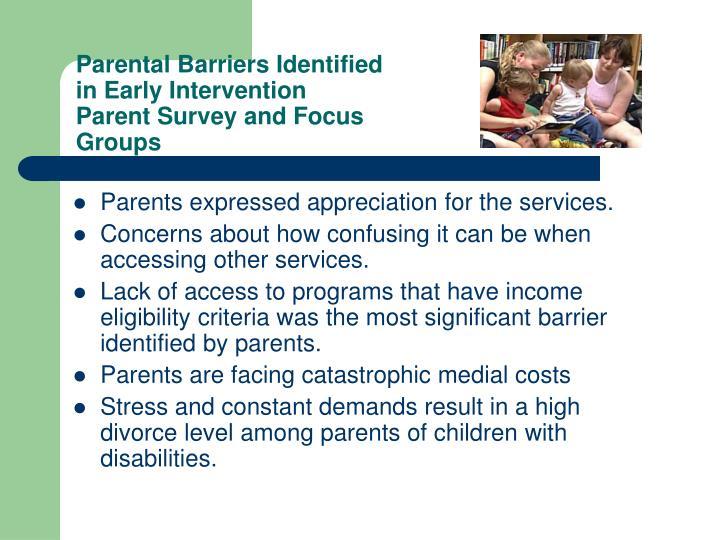 Parental Barriers Identified