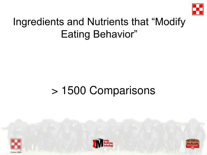 """Ingredients and Nutrients that """"Modify Eating Behavior"""""""