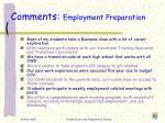 comments employment preparation