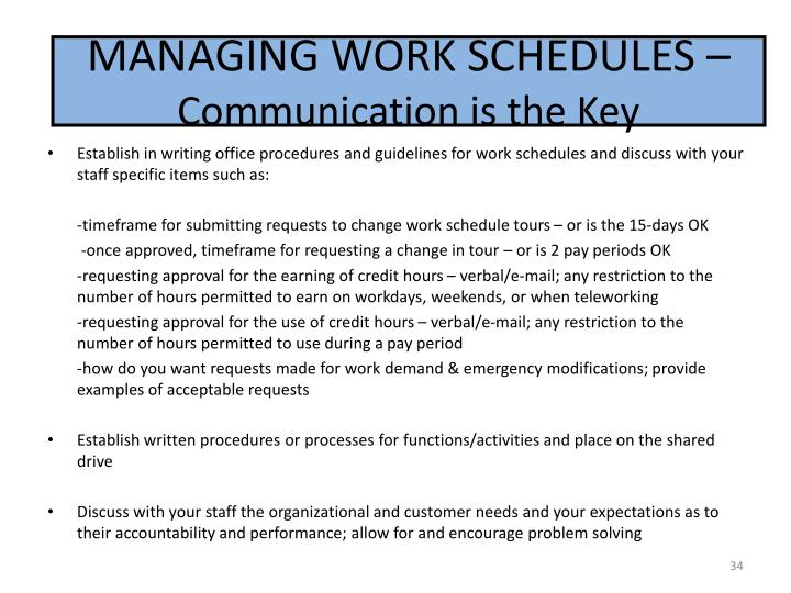 MANAGING WORK SCHEDULES