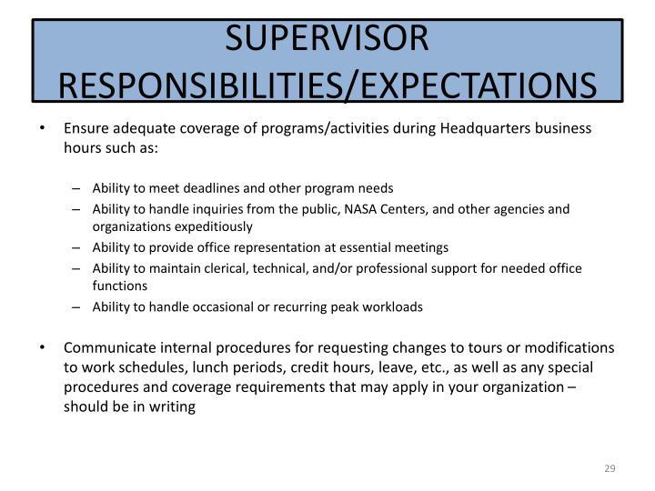 SUPERVISOR RESPONSIBILITIES/EXPECTATIONS
