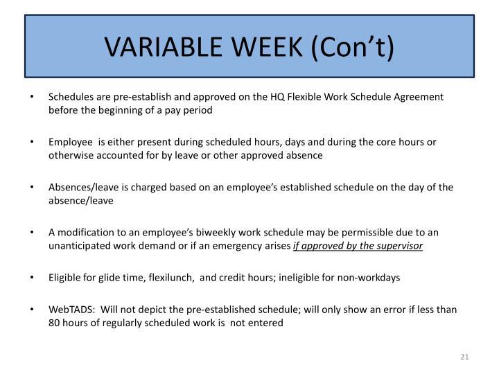 VARIABLE WEEK (
