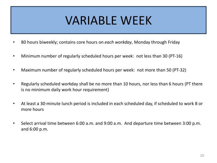 VARIABLE WEEK