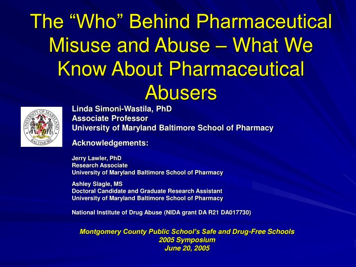 the who behind pharmaceutical misuse and abuse what we know about pharmaceutical abusers n.