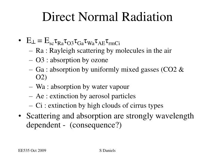 Direct Normal Radiation