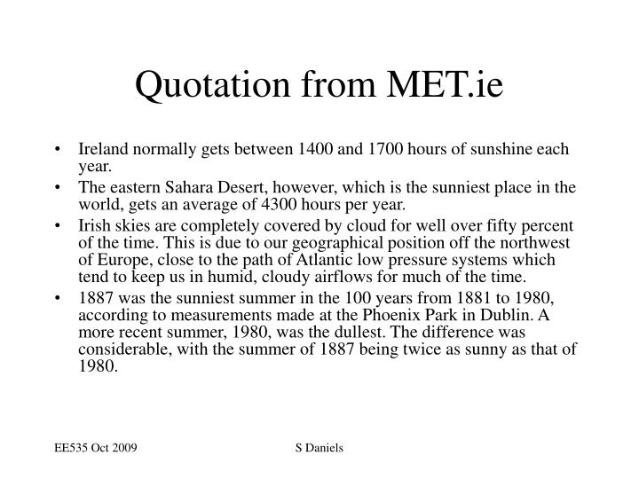 Quotation from MET.ie