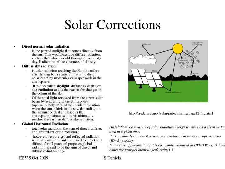 Solar Corrections