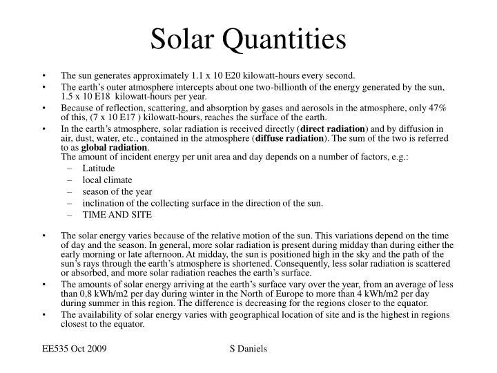 Solar Quantities