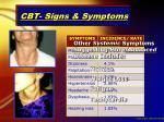 cbt signs symptoms