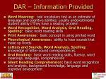 dar information provided