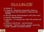 fox in a box fib