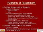 purposes of assessment