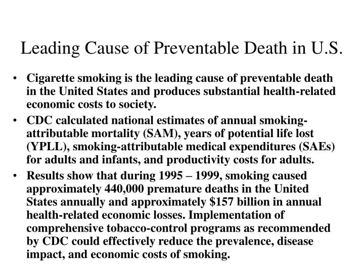 Leading cause of preventable death in u s