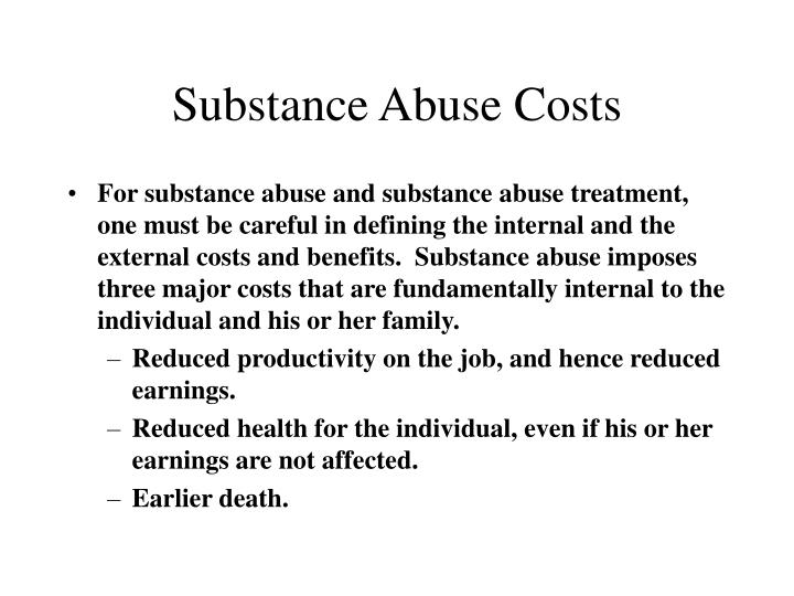 Substance Abuse Costs