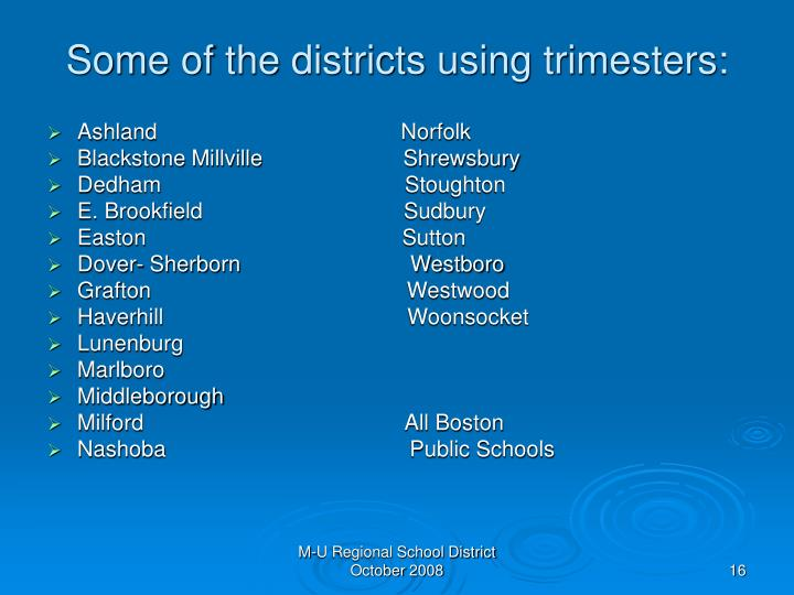 Some of the districts using trimesters: