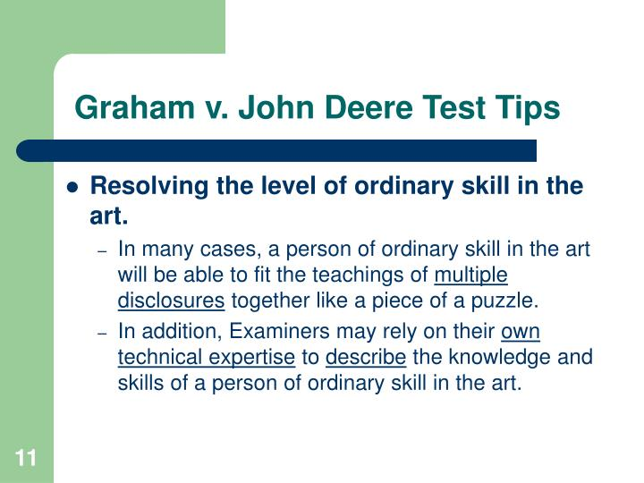 Graham v. John Deere Test Tips