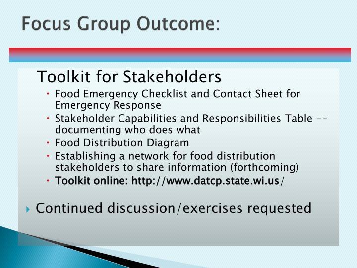 Focus Group Outcome: