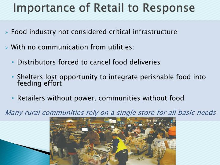 Importance of Retail to Response
