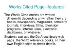 works cited page features