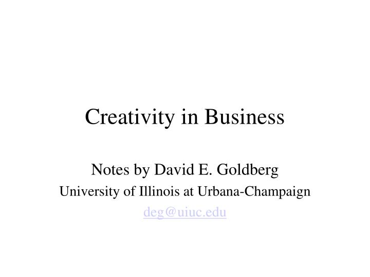creativity in business n.