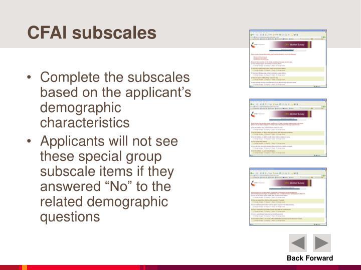 CFAI subscales