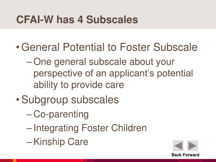 CFAI-W has 4 Subscales