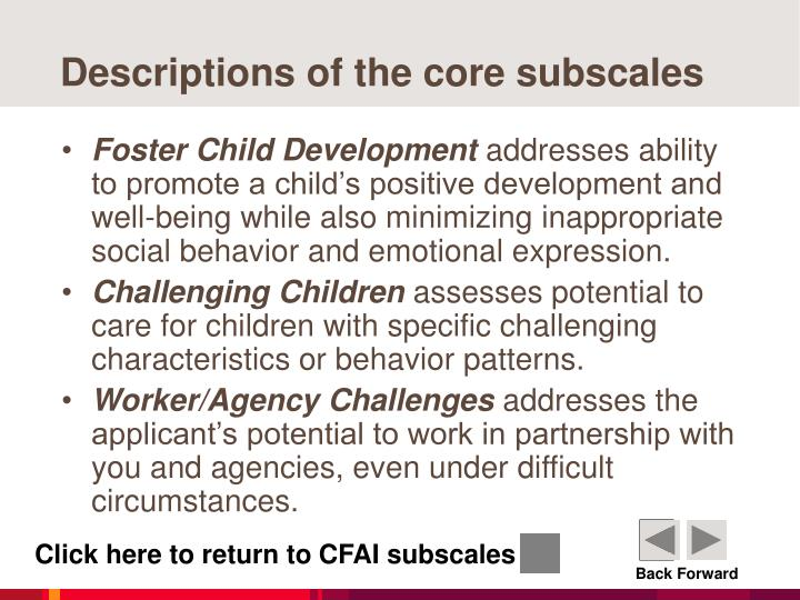 Descriptions of the core subscales